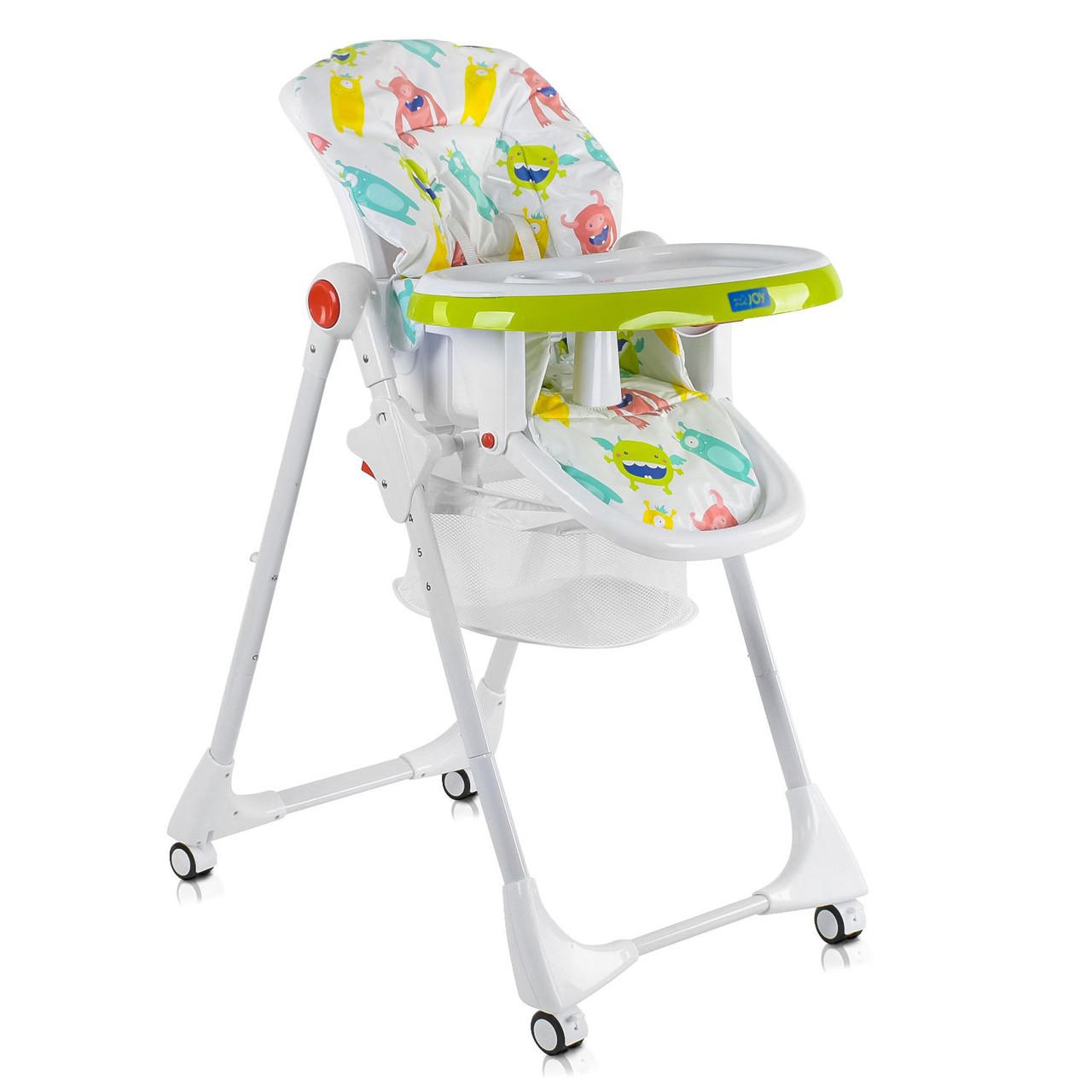 Детский стульчик для кормления JOY К-33740 Монстрики Цвет бело-салатовый Мягкий PVC Быстрая доставка