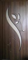 Межкомнатные двери ТМ Неман модель Тюльпан ПО орех шоколадный