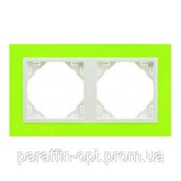 Рамка двойная  СЕРИЯ ANIMATO LOGUS Зеленый металлик ледяной