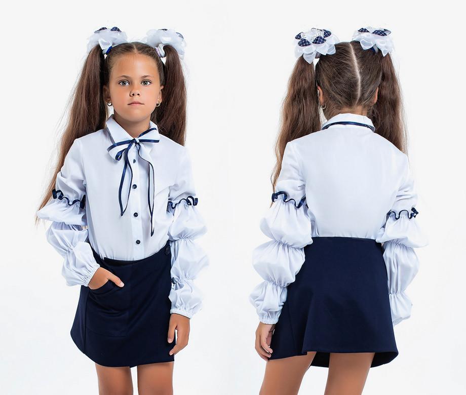 """Детская стильная школьная блузка 3-165 """"Рукава Тройной Фонарик Бант"""""""