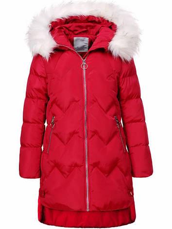 Зимняя яркая теплая подростковая куртка  с капюшоном для девочки с мехом, фото 2