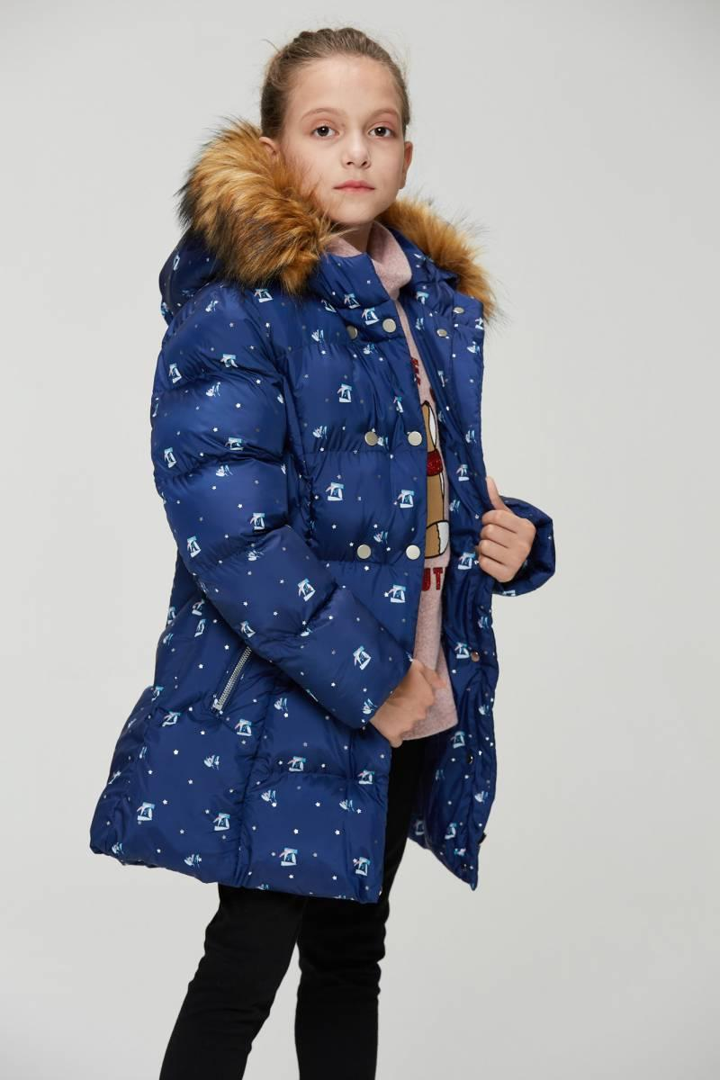 Куртка подростковая  зимняя синяя с принтом для девочки 11-13 лет
