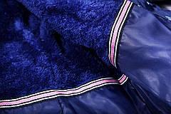 Куртка подростковая  зимняя синяя с принтом для девочки 11-13 лет, фото 3