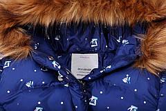 Куртка подростковая  зимняя синяя с принтом для девочки 11-13 лет, фото 2