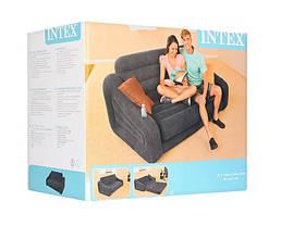 Надувний велюровий диван Intex 68566. висувний, фото 2