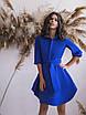 Синее Платье с поясом и расклешенным подолом, фото 4