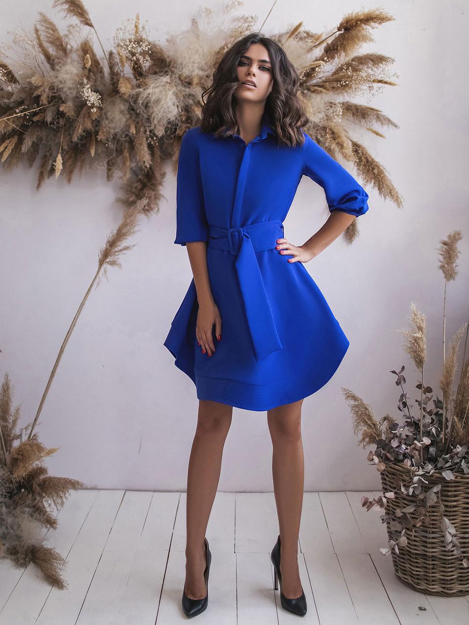 Синее Платье с поясом и расклешенным подолом