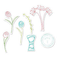 Ножи + штампы Sizzix 7PKs - Flowers & Vase, 658207