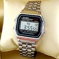 Легендарные мужские кварцевые (электронные) наручные часы Casio A159W Old School Design, серебристого цвета