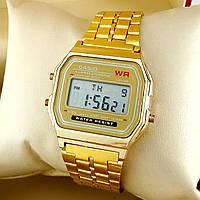 Легендарные мужские кварцевые (электронные) наручные часы Casio A159W Old School Design, золотого цвета
