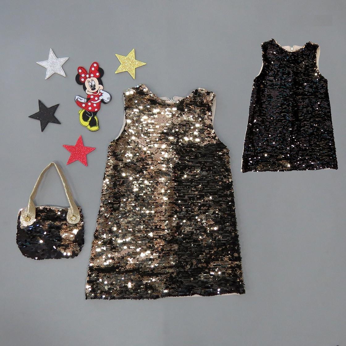 Нарядное платье для девочки с сумочкой. Двустронние пайетки.