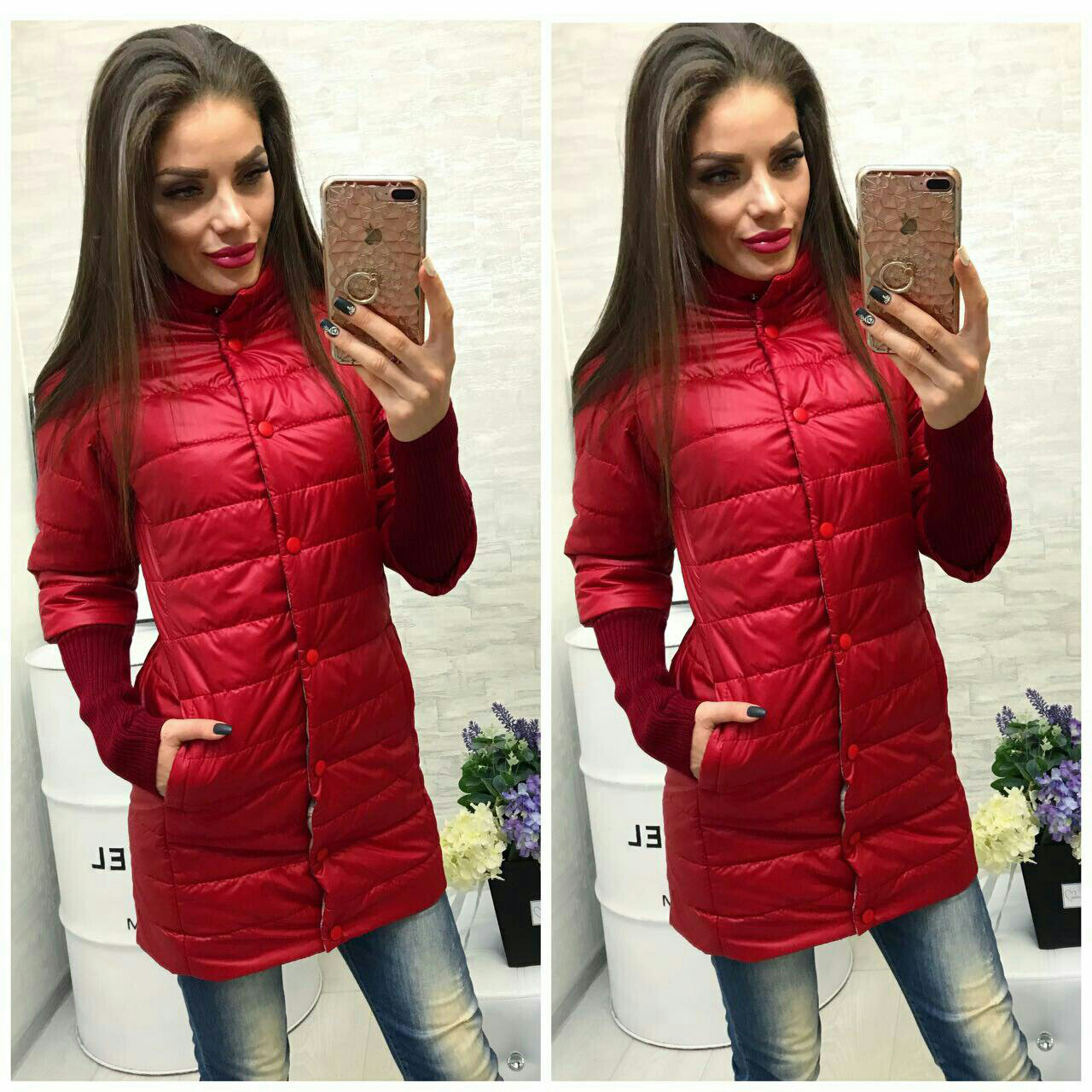 Куртка Давяз, модель 205/2 удлинённая, цвет - красная 42 только