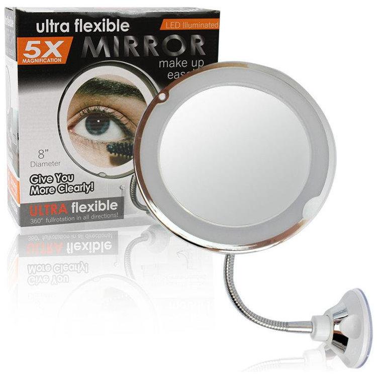 Зеркало на присоске с подсветкой My Flexible Mirror 5X, гибкая ножка, 5-ти кратное увеличение