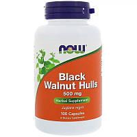 Скорлупа черного ореха, 500 мг, 100 капсул, Now Foods, США,