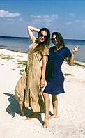 Платье-халат, синее,  Индия, на 48-52 размеры, фото 1