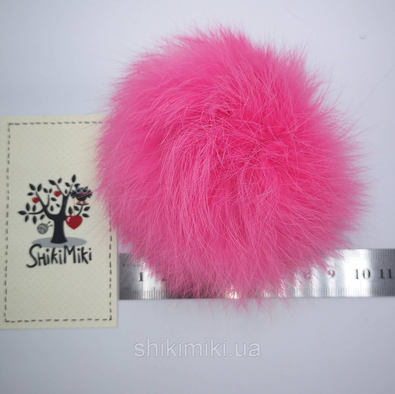 Помпон из меха кролика (10-12 мм), цвет Ярко-розовый