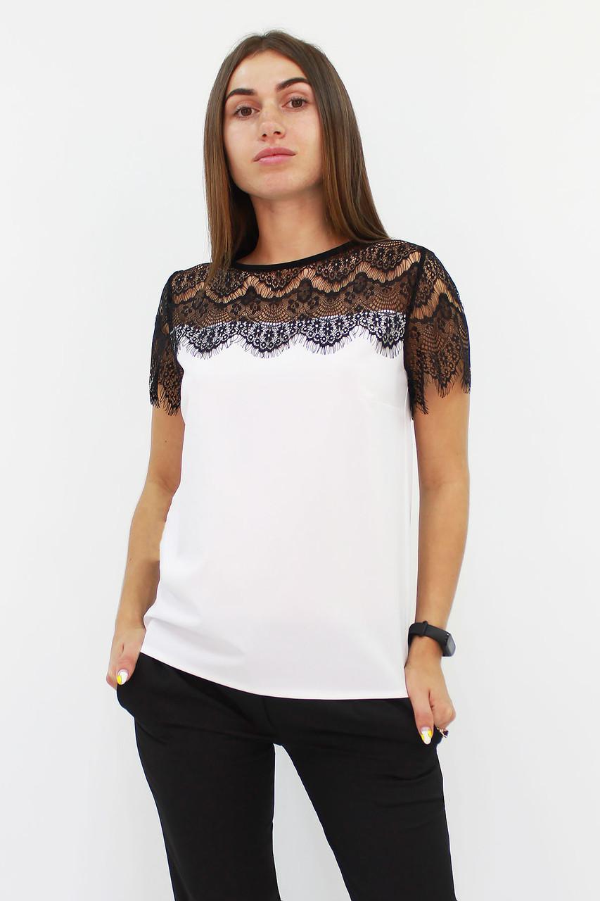 S, M, L / Витончена блузка з мереживом Inza, білий
