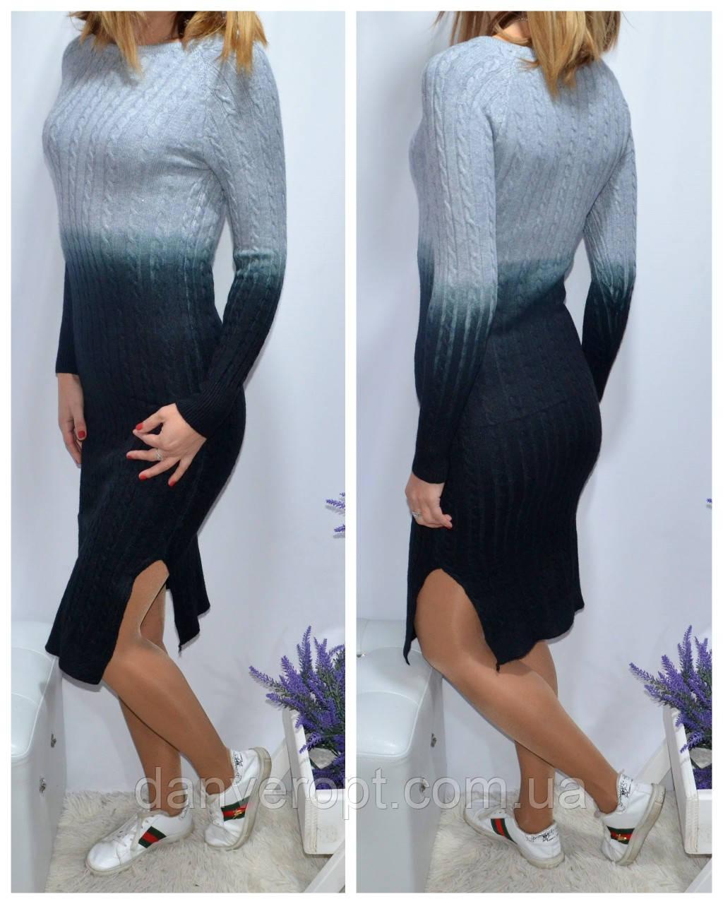 Платье женское молодёжное вязаное размер универсальный 42-46 купить оптом со склада 7км Одесса