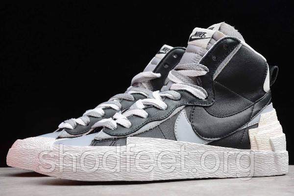 Мужские кроссовки Sacai x Nike Blazer Mid Black White University Grey
