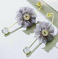 """Серьги-гвоздики дымчатые  цветы """"Серая дымка"""" от студии LadyStyle.Biz, фото 1"""