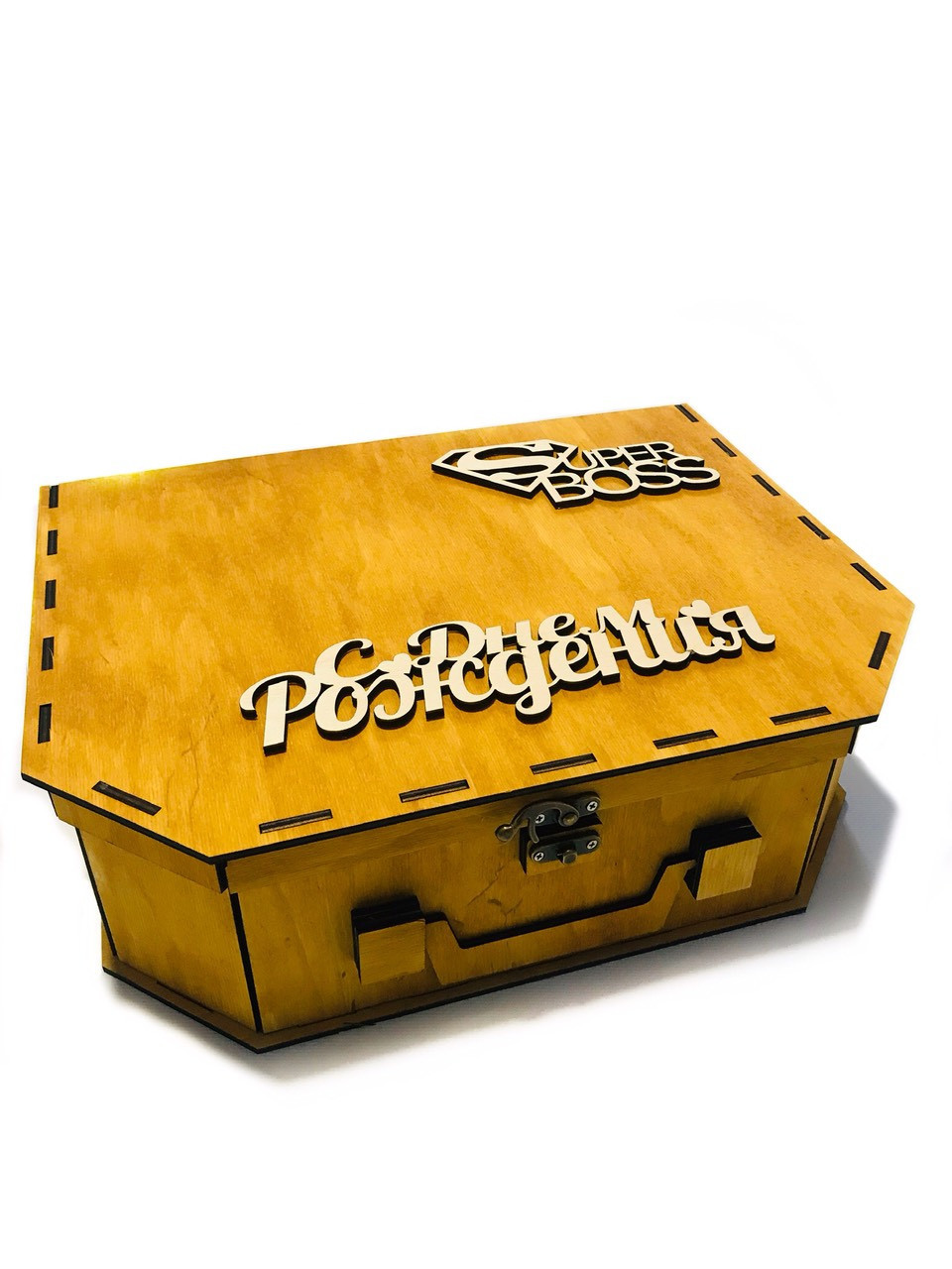 Подарочная деревянная коробка из дерева фанеры 33/25/10 см