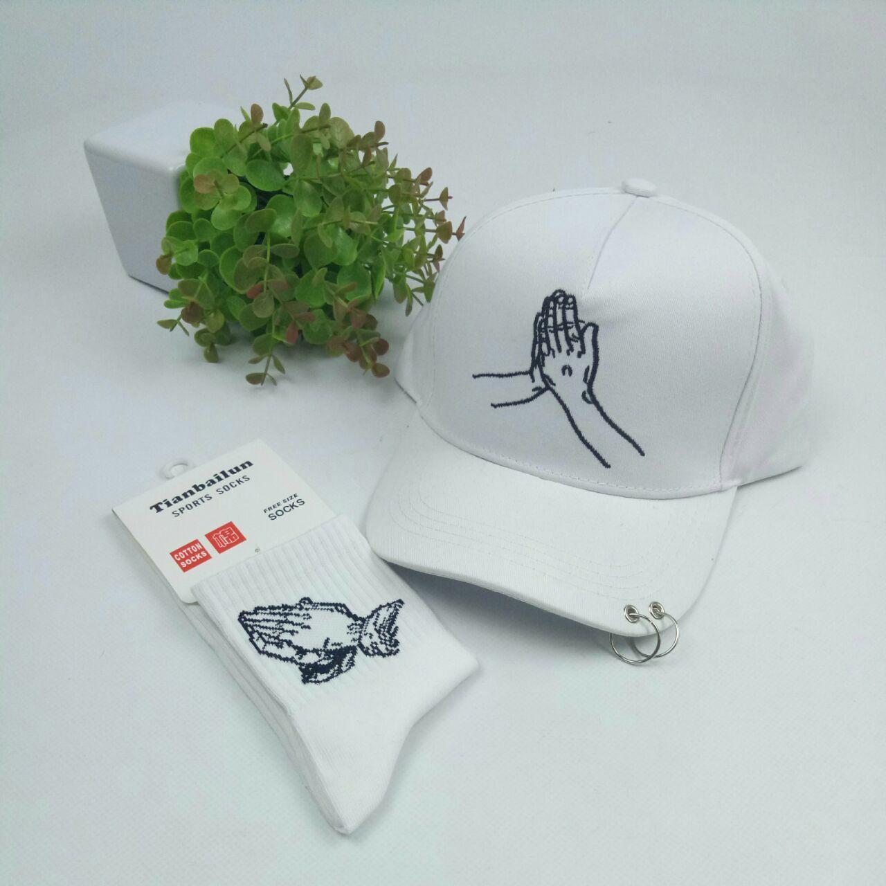 Комплект Кепка бейсболка Drake молитвенные руки с кольцами (белая) + носки
