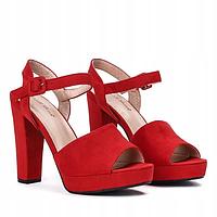 Женские босоножки красного цвета на широком каблуке, фото 1