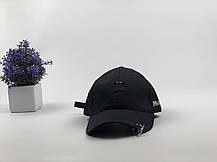 Комплект Кепка бейсболка Япония с кольцами и булавой (черная) + маска BTS + металлический значок пин, фото 3
