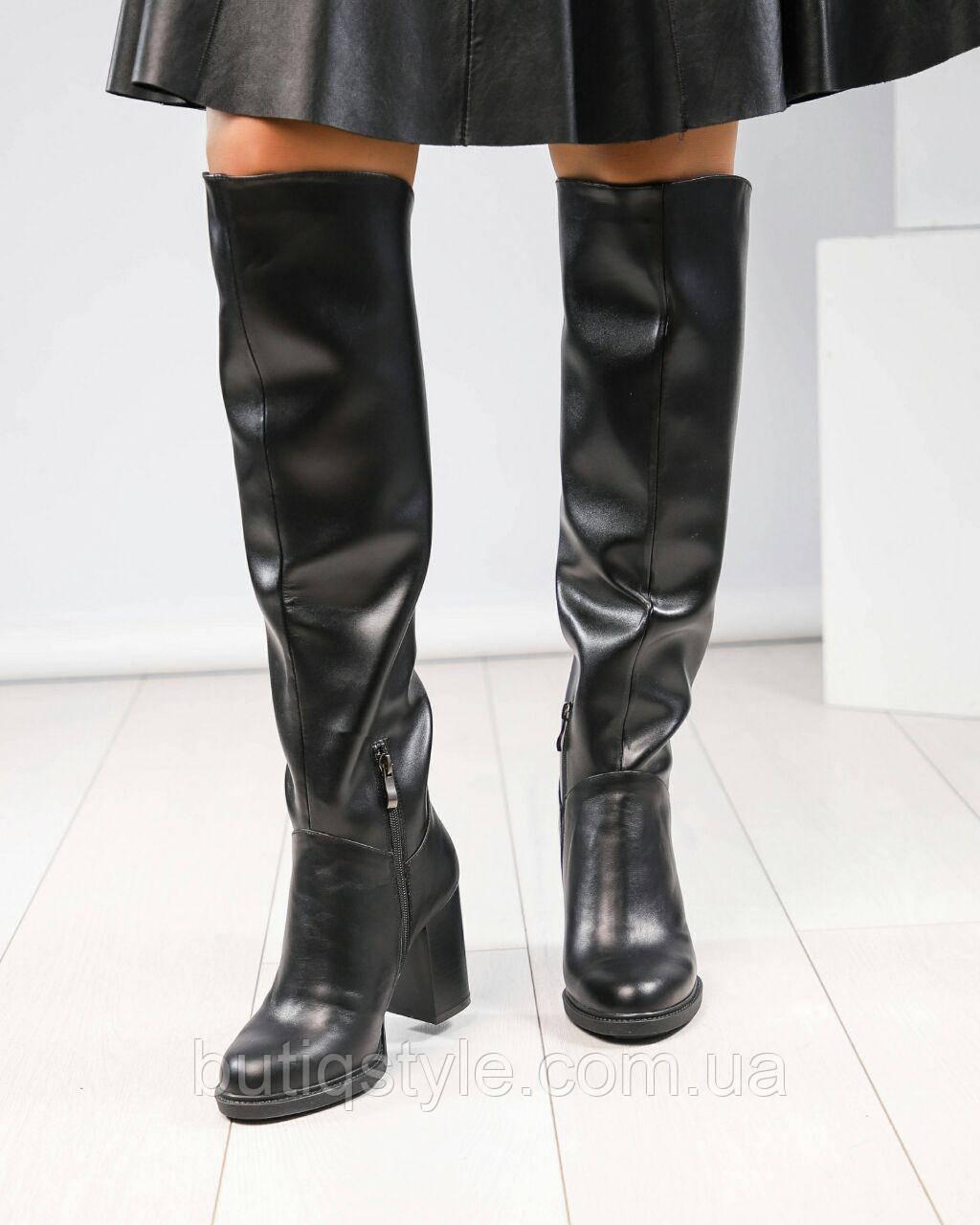 Женские черные сапоги на каблуке натуральная кожа деми