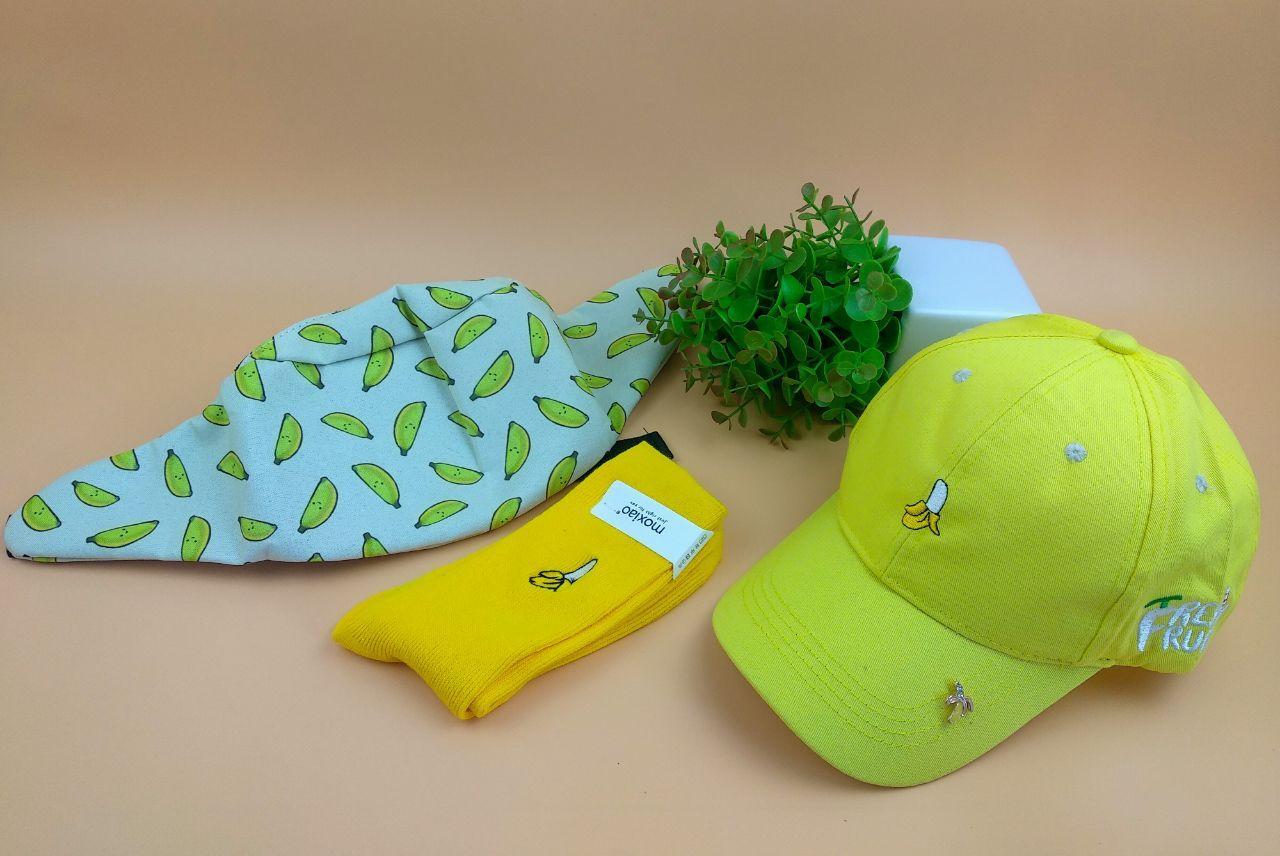 Комплект Кепка бейсболка Fresh Fruit Банан (желтая) + носки + поясная сумка бананка + металлический значок пин