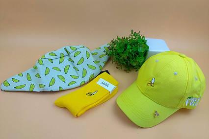 Комплект Кепка бейсболка Fresh Fruit Банан (желтая) + носки + поясная сумка бананка + металлический значок пин, фото 2