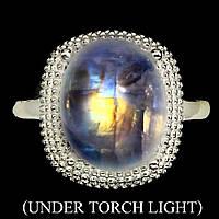 Кольцо серебряное 925 натуральный огненный лунный камень.