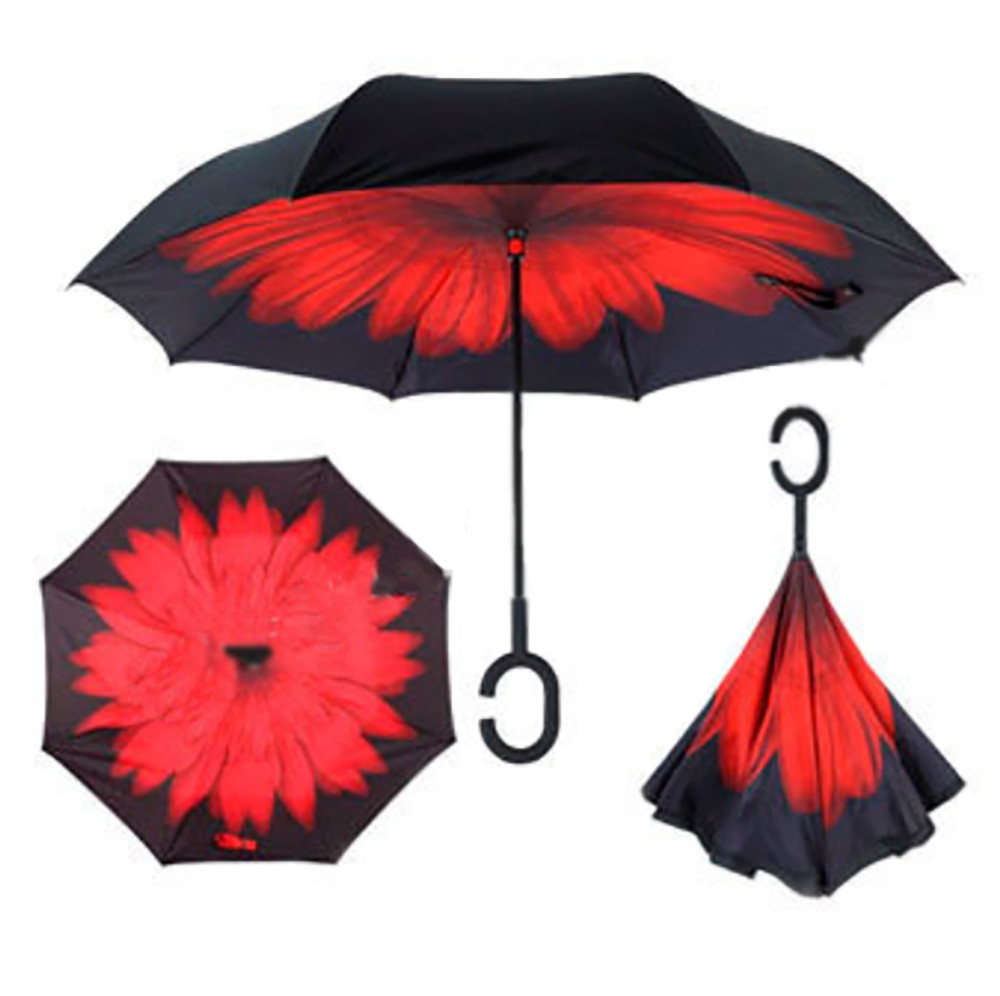 Зонт обратного сложения Up-brella Красный Цветок №67