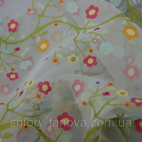Органза  детская цветочки Испания молочный/липа/св.голубой