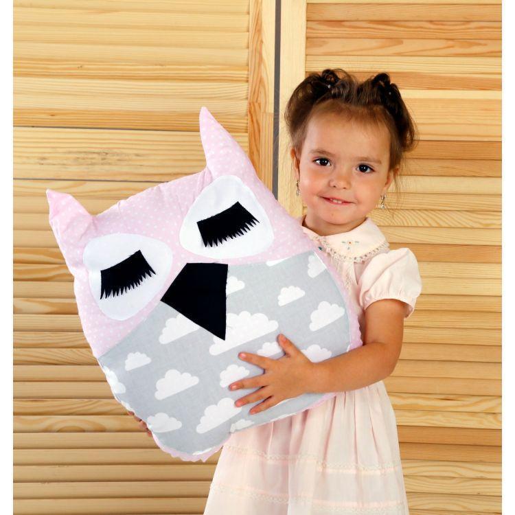 Подушка - игрушка, бортик Сова 45х35 см розовый