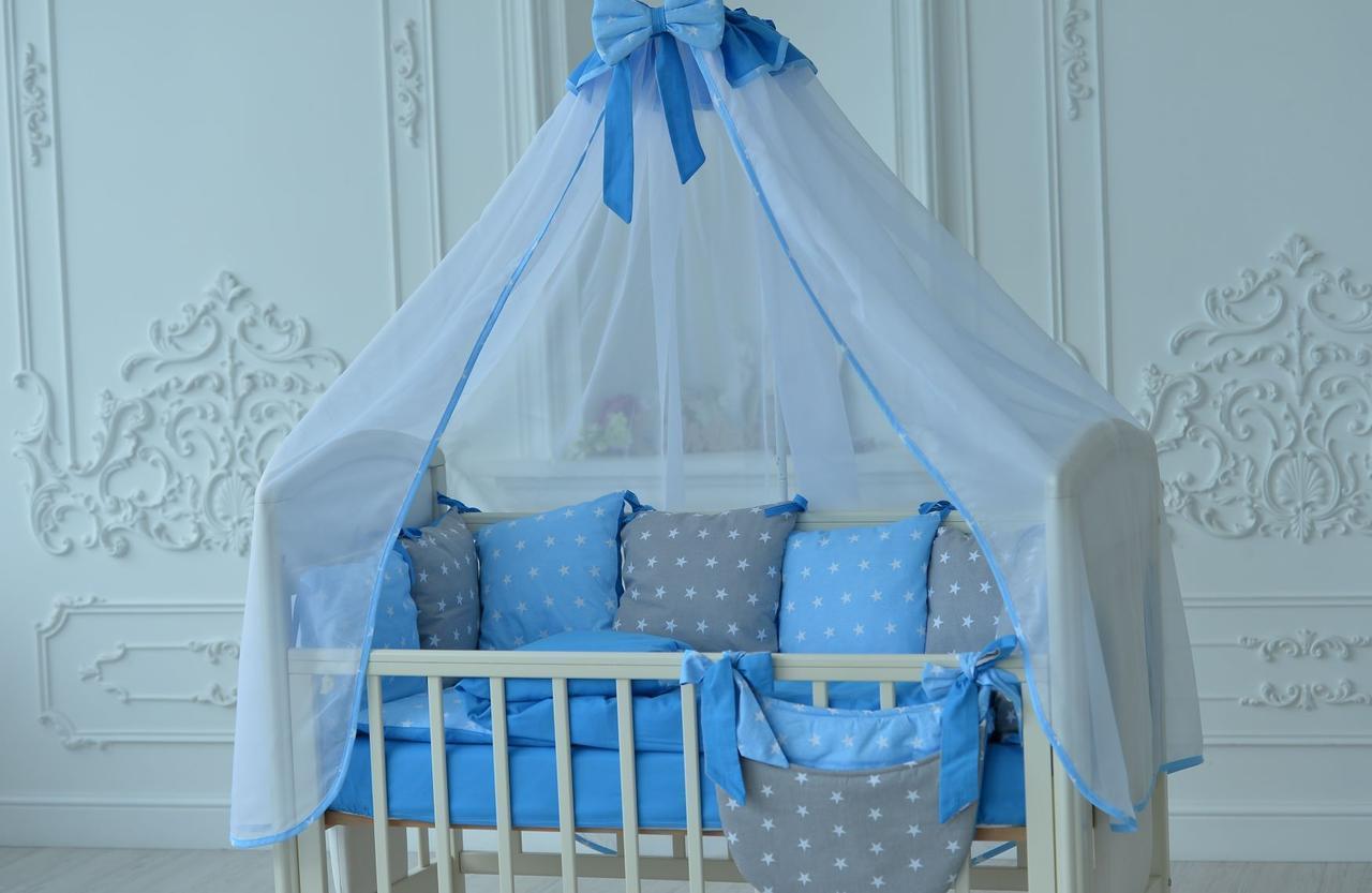 Набор  для детской кроватки (постельное белье, одеяло, подушка, бортики, карман)  Браво в рацветках голубой