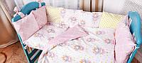 Детское постельное белье из сатина в детскую  кроватку с защитой и карманом (разные цвета) розовый, фото 1