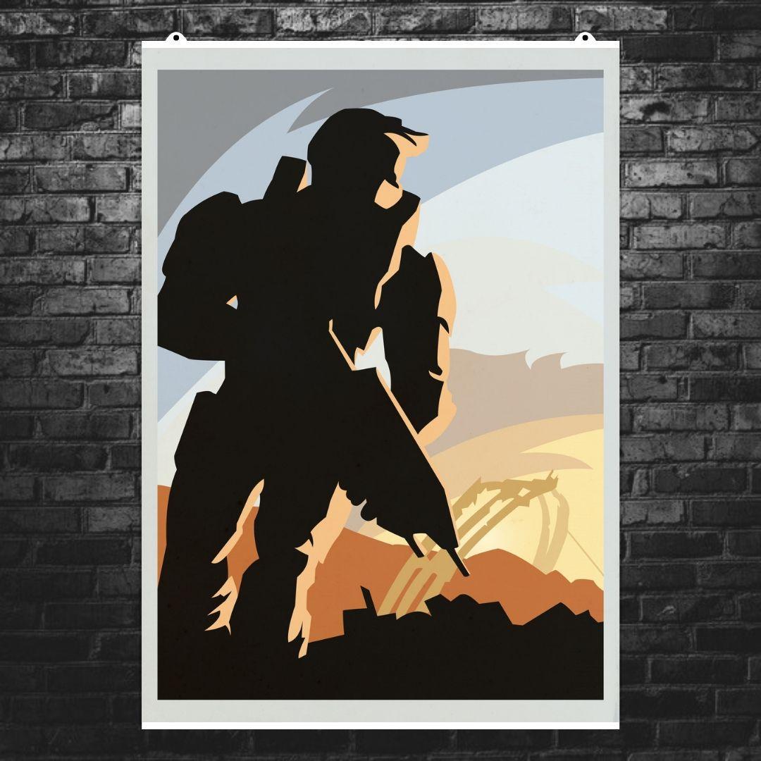 """Постер """"Halo"""", минималистичный арт. Размер 60x43см (A2). Глянцевая бумага"""