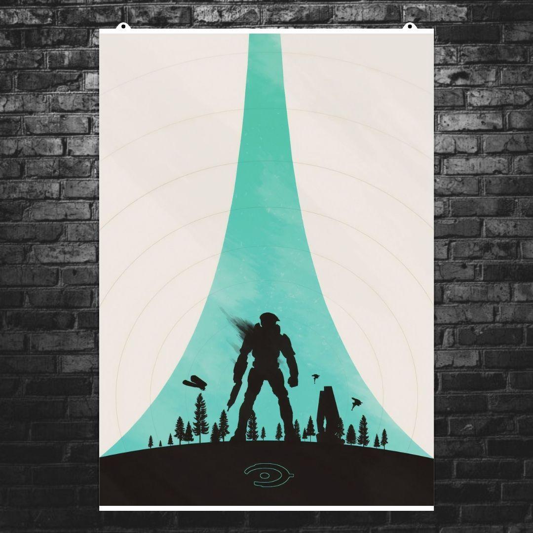 """Постер """"Halo: Combat Evolved"""". Минималистичный арт. Размер 60x43см (A2). Глянцевая бумага"""