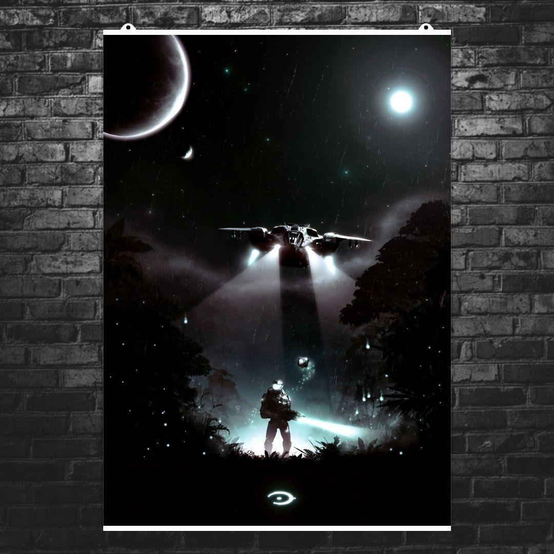 """Постер """"Чиф и Виновная Искра"""". Halo: Combat Evolved.. Размер 60x43см (A2). Глянцевая бумага"""
