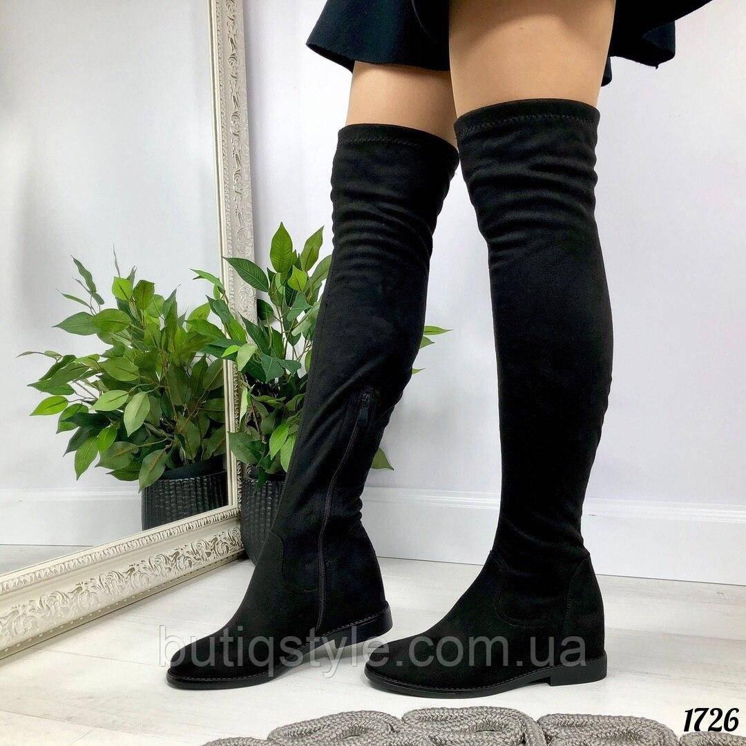 Женские черные ботфорты деми на низком ходу экозамш