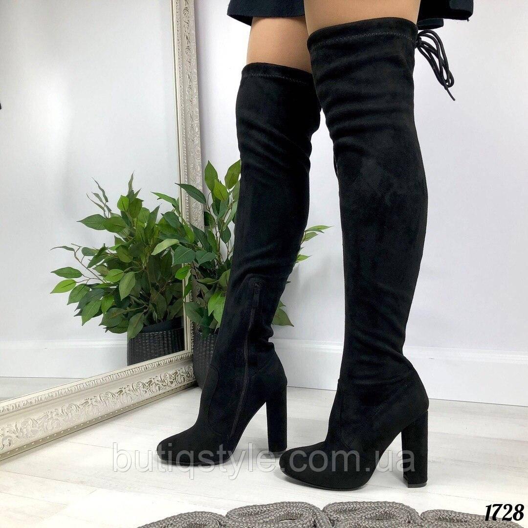 Демисезонные женские черные ботфорты на каблуке с завязкамиэкозамш