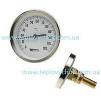 Термометр 0-120 С Watts біметалічний осьовий