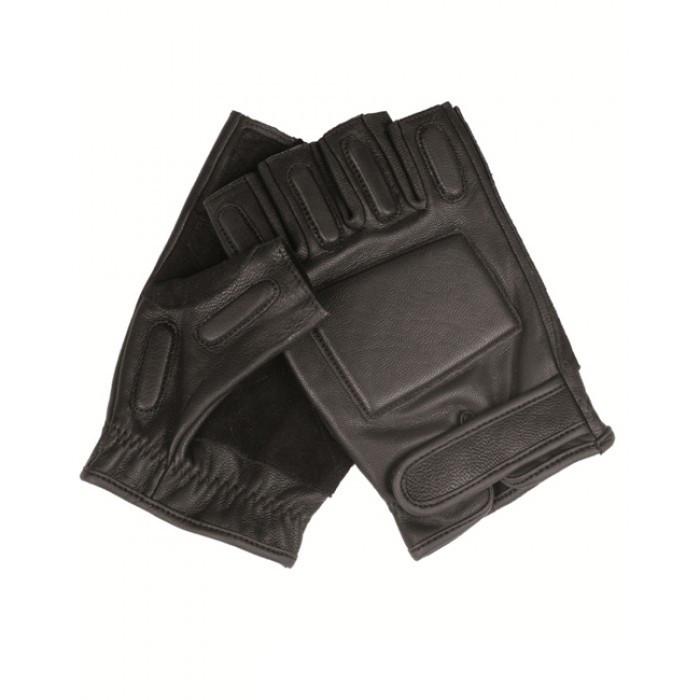 Тактические перчатки кожаные беспалые с защитными вставками MilTec Bla