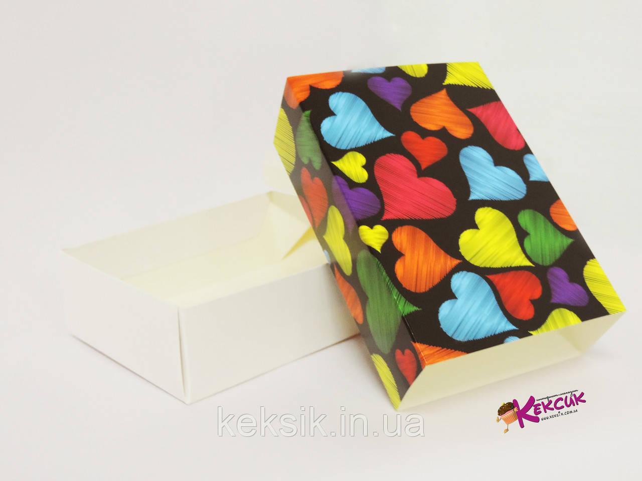 Коробка для macarons на 12 штук Сердечки темный фон 115*155*50