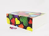 Коробка для macarons на 12 штук Сердечки темный фон 115*155*50, фото 2