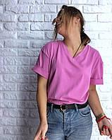 Женская футболка oversize из хлопка с эластаном с V - вырезом