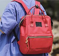 Сумка рюкзак красная женская ЕКО для покупок работы учебы Ткань Оксфорд непромокаемый легкий обьемный