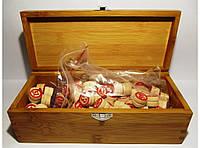 I4-6 Лото в дереве, Лото в деревянном сундучке с деревянными бочонками, Настольная игра, Русское лото
