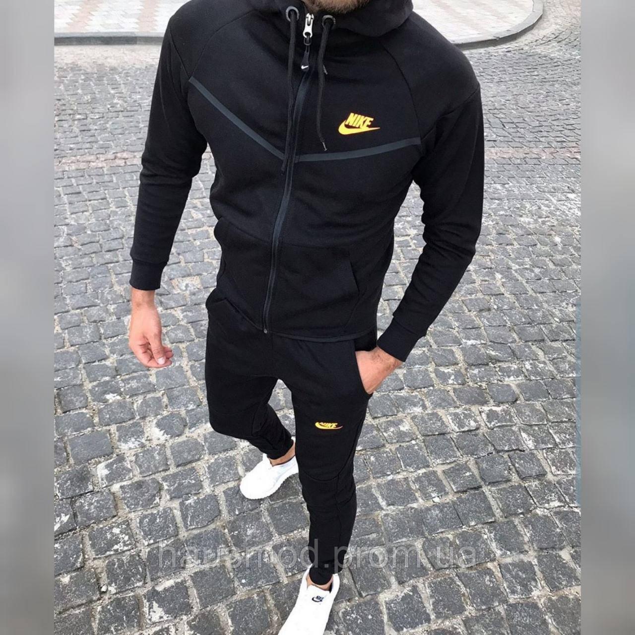 Мужской спортивный костюм Осень Зима Турция ткань 3-х нить тёплый цвет черный